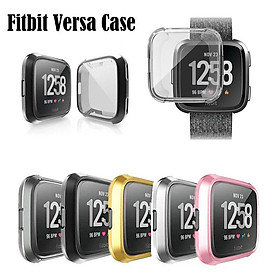 For Fitbit Versa Silicone Ultra Thin TPU Shell Case Screen Protector Frame Cover
