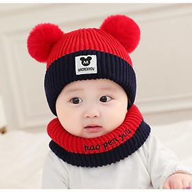 Hình ảnh Bộ mũ và khăn len ống dễ thương cho bé