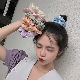 Dây chun buộc tóc vải scrunchies họa tiết hoa phong cách Nhật Hàn cực đẹp SC04