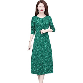 Women Floral Fashion Dress Autumn Long Sleeve Women Dress Round Neck Flower Mid-long Dress