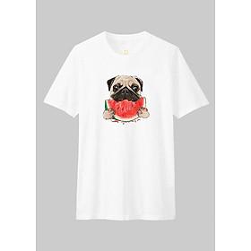 Áo Thun Gia Đình Unisex Dotilo Tshirt Dog Eaating Watermelon - Hm130
