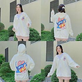 Áo khoác nữ  mặt thỏ , áo khoác hoodie nữ , áo khoác form rộng có dây kéo , vải nỉ ngoại chống nắng chống lạnh tốt
