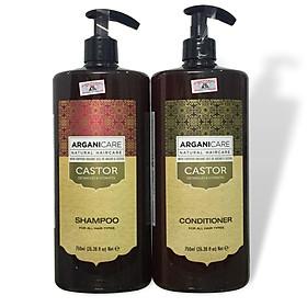 Bộ gội xả dưỡng ẩm phục hồi chống rụng tóc Arganicare Castor shampoo & conditioner for all hair types 750ml-0