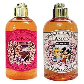 Combo Dầu Gội + Sữa Tắm Cho Bé L'amont En Provence Baby Cherry Blossom Shampoo + Shower Gel Hương Hoa Anh Đào (250ml/Chai)