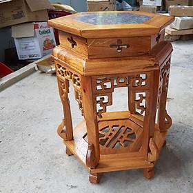 Ghế đôn lục giác cao 50 cm - mặt ghế 32 cm kết hợp giữa gỗ và đá