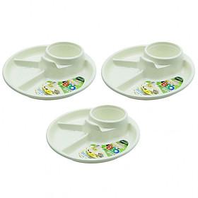Combo đĩa đựng salad, khay ăn 3 ngăn cho bé màu trắng nội địa Nhật Bản