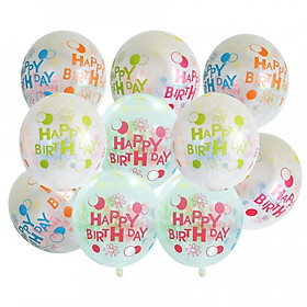 10 bong bóng sinh nhật trong suốt in Happy Birthday