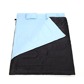 "86""x60"" Double Thermal Sleeping Bag 2 Person Outdoor Camping Hiking Sleeping Bag with 2 Pillows blue CN"