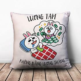 Gối Ôm Vuông Lương Tâm Không Bằng Lương Tháng GVFU248 (36 x 36 cm)