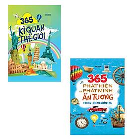 Bộ 2 cuốn sách về : 365 kì quan thế giới - 365 phát hiện và phát minh ấn tượng trong lịch sử nhân loại