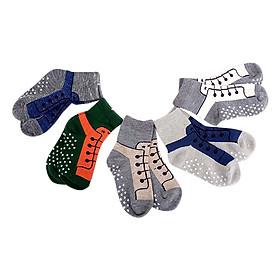 Combo 5 Đôi Vớ In Chống Trượt Hình Giày Cho Bé Trai VIC VM07 (Màu Ngẫu Nhiên)