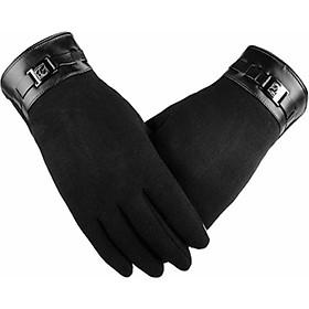 Găng tay da nam cảm ứng điện thoại chống nước lót lông