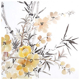 Tooarts Provoke Spring Chinese Flower Painting Wall Art Artist Hand-Painted Chinese Brush Painting Traditional