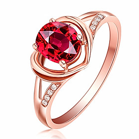 18K Gold Plated 2 Carat Ruby Open Ring QYP0030