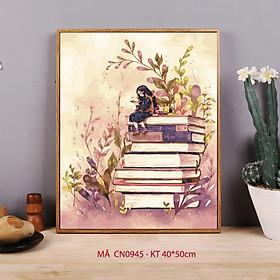 Tranh tô màu theo số sơn dầu số hóa Tranh cô bé ngồi đọc sách CN0945