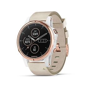 Đồng hồ thông minh Garmin Fenix 5S Plus, Sapphire, Vàng hồng với dây da màu be, GPS, SEA_010-01987-80 - Hàng Chính Hãng