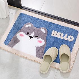 Thảm chùi chân hình thú dễ thương phù hợp cho nền gạch và gỗ, thảm lau chân có lớp cao su non chống trượt hiệu quả trong nhà tắm. Thảm dậm chân tạo cảm giác thoải mái, dễ chịu với những sợi lông mềm mại
