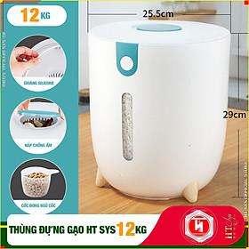 Thùng đựng gạo thông minh HT SYS - Thiết kế dạng nhấn nút - Chống kiến - Chống ẩm - Chống mọt - Chất liệu ABS cao cấp + Sét móc vàng tài lộc - Hàng Nhập Khẩu