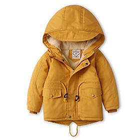 Áo khoác lót lông màu vàng  xuất khẩu bé trai 3-10 tuổi