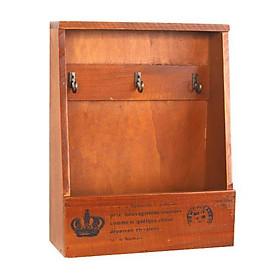 Kệ gỗ retro đựng đồ móc chìa khóa 27x21.5x8cm