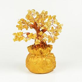 Cây Tài Lộc đá Thạch Anh Vàng tự nhiên (Hình Túi Tiền)