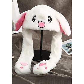Mũ thỏ trắng giật đáng yêu cho bé