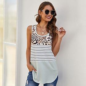 Fashion Women Summer Spliced Tank Top I-Back Leopard Print Striped Print O Neck Sleeveless Casual Vest Top