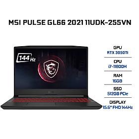 Laptop MSI Pulse GL66 11UDK-255VN (Core i7-11800H/ 16GB (8GBx2) DDR4 3200MHz/ 512GB NVMe PCIe Gen3x4 SSD/ RTX 3050Ti 4GB GDDR6/ 15.6 FHD IPS, 144Hz/ Win10) - Hàng Chính Hãng