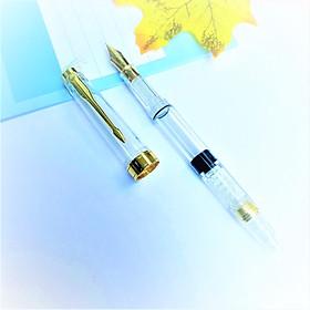 Bút Mực Học Sinh Thân Trong Suốt Ngòi Vàng