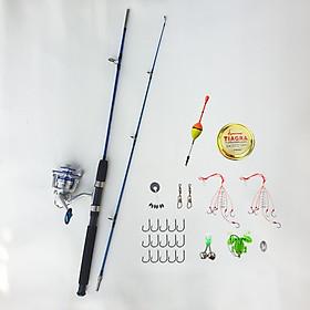 Bộ cần câu bạo lực 2 khúc đặc + Máy câu cá AL kim loại + Tặng kèm 10 phụ kiện