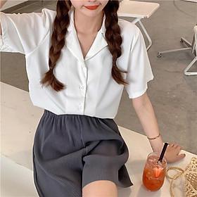 Áo sơ mi nữ nhiều màu basic phong cách Hàn Quốc - Áo sơ mi trắng Trơn đuôi tôm