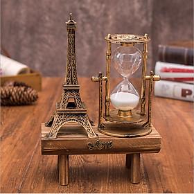 Mô hình tháp Eiffel kèm đồng hồ cát có kệ gỗ trang trí