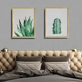Combo tranh treo tường hoa lá - vẽ màu nước thủ công