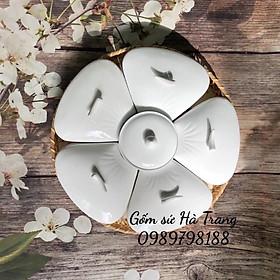 Khay đựng bánh kẹo , mứt tết gốm sứ Bát Tràng cao cấp hình hoa mai