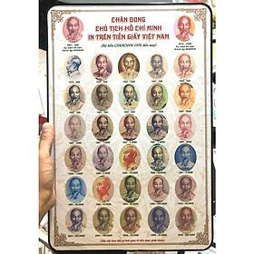 Tranh ép gỗ hình ảnh chân dung Bác Hồ in trên tiền giấy Việt Nam qua các giai đoạn