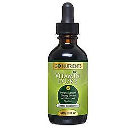 Vitamin D3 with K2 (MK-7) Potent Liquid Drops - Improve Mood, Strengthen Bones and Teeth & Boost Immune System - 1oz Bottle - Go Nutrients