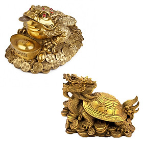 Bộ linh vật trên ban thờ thần tài cóc thiềm thừ rùa đầu rồng long quy bằng đồng thau cỡ đại phong thủy Hồng Thắng
