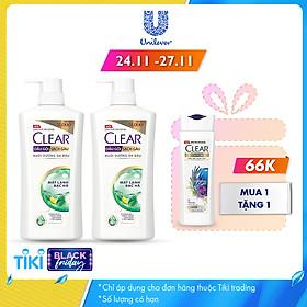Combo 02 Dầu Gội Trị Gàu Clear Mát Lạnh Bạc Hà