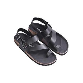 Hình đại diện sản phẩm Giày Sandal Nữ Xỏ Ngón Tròn Lót Đen Đế Trấu HuuCuong 2184