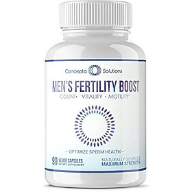 Men's Fertility Booster Motility Increase - Support for Optimized Sperm Count, Increase Motility, Vitality, Men's Reproductive Health Wellness - 90 Vegetarian Pills 1575mg (45 Day Supply)