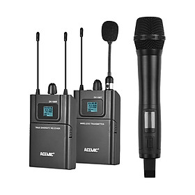 Bộ Micro Không Dây UHF ACEMIC DV100 Cho Máy Ảnh Canon/Nikon/Sony/DSLR Và Máy Quay Phỏng Vấn Ghi Âm