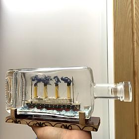 [Quà tặng] Tàu gỗ Titanic mô hình trong chai thủy tinh thủ công mỹ nghệ tĩ mĩ tinh xảo - Chai thủy tinh dài 25cm