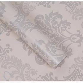 Cuộn 5m Decal Giấy Dán Tường Vân châu âu bạc (5m dài x 0.45m rộng)