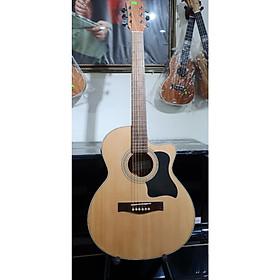 Đân guitar Aucoustic MKAC355, thùng vuông to, size 4, màu vân gỗ đậm, Việt Nam bao da 3 lốp, bộ đây
