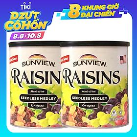 Combo 2 Hộp Nho Khô Mỹ Thập Cẩm Không Hạt Sunview Raisins Seedless Medley 425g