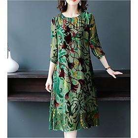 Đầm bigsize, đầm suông nữ họa tiết sang trọng HATI- DS8848