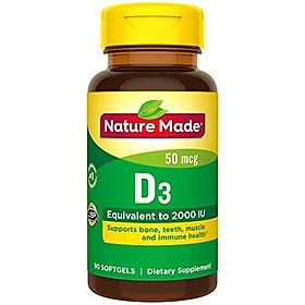 Viên Uống Nature Made Vitamin D3 2000IU Giúp Xương Chắc Khỏe Mỗi Ngày