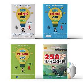 Combo 4 sách: Siêu trí nhớ chữ Hán tập 01 + tập 02 + tập 03 + 250 Thông Điệp Thay Đổi Cuộc Đời Bạn + DVD tài liệu nghe