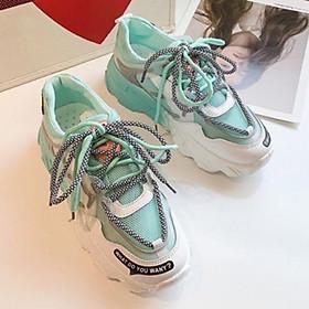 Giày thể thao nữ lưới đế màu độn đế lót...