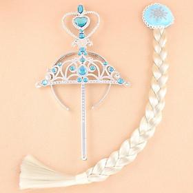 Set vương miện, gậy, tóc nữ hoàng Elsa cho bé